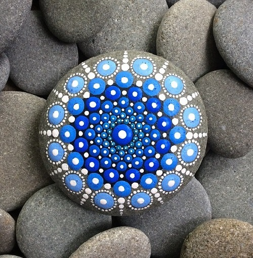 One of the stones Elspeth McLean painted visiting the beach in New Zealand