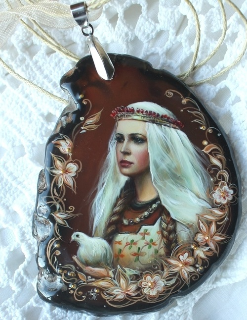 Pendant 'Slavic woman'. Lacquer miniature painting on a natural stone. Artist Anna Taleyeva