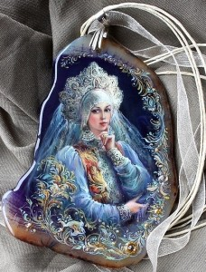 Beauty of Russia. Lacquer miniature painting on a cut of agate. Artist Anna Taleyeva