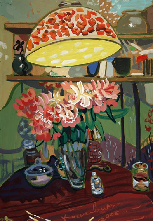 Peonies under the lamp shade 2006