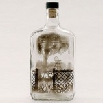 In the garden. Pictures painted with smoke inside empty glass bottle. Art by American artist Jim Dingilian