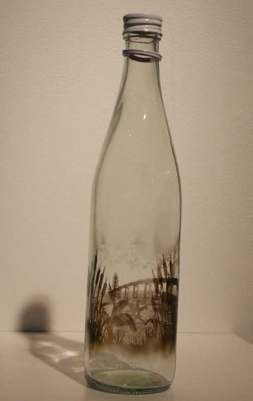 Reed, landscape painted with smoke inside empty glass bottle