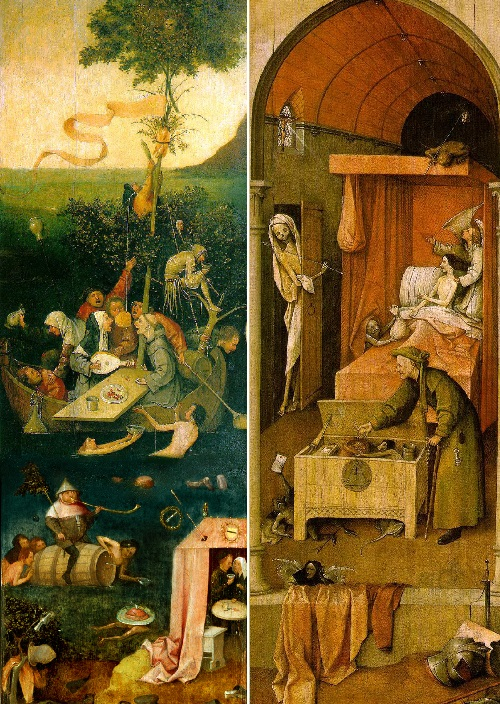 Hieronymus Bosch Ship of Fools symbolism. Reconstruction of the triptych