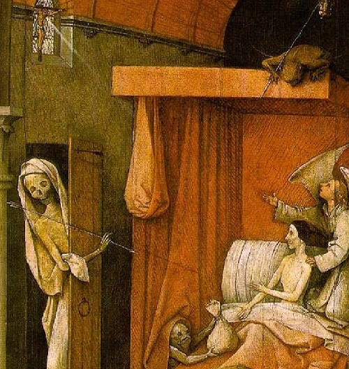 Hieronymus Bosch Ship of Fools symbolism. Right upper part of the triptych