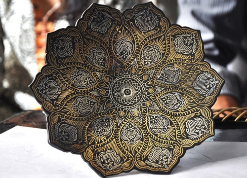 Legend of Bidri art. Traditional metal handicraft from Bidar, India