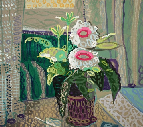 White flowers at the curtains 2006. Rondizm - Avant-garde painting by Yuri Kossagovsky