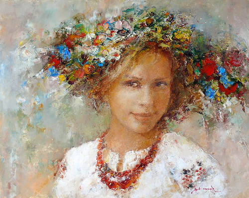 A girl in a flower wreath. Russian painter Nikolai Fedyaev