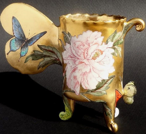 Anaxia Constricia Cup. Hand-built porcelain, over-glaze painting, 24k gold luster