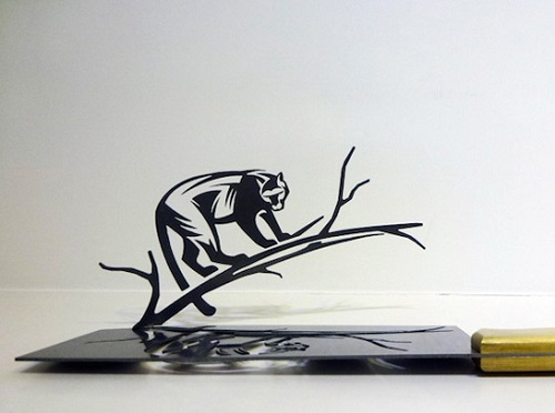 Cheetah. Li Hongbo Silhouettes Cut from Knives