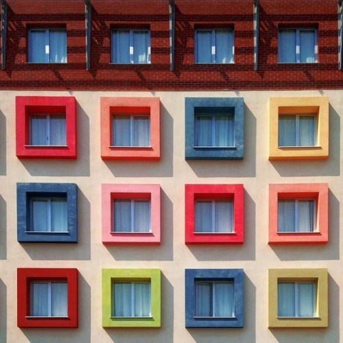Square windows of different colors