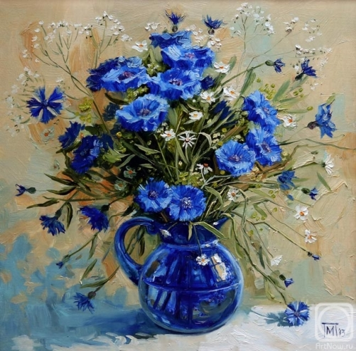 Cornflowers. Oil on canvas. Painting by Maria Pavlova