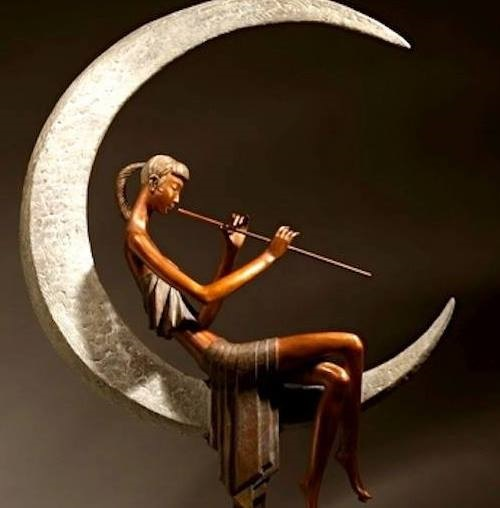 Flute Music Comes From the Moon River. 2010. Zhang Hua bronze sculpture
