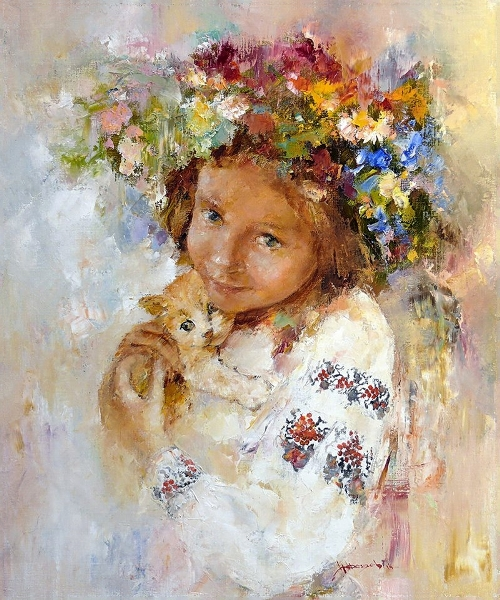 Girl with a kitten