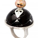 Large Ring in the form of a mustached man in a black suit. Collaboration of Fineartshop and Georgian jewelers
