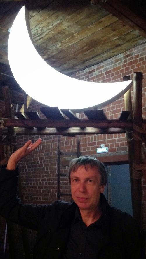 Leonid Tishkov with his Private moon in Kazan. June 2014