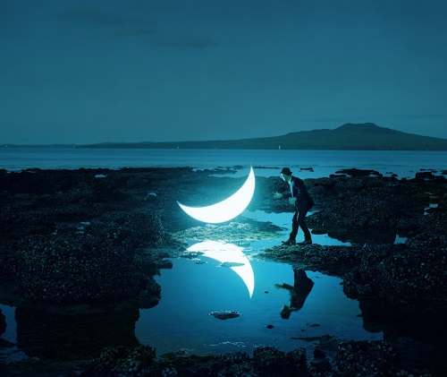 Leonid Tishkov with his private moon in New Zealand, at Rangitoto Island volcano, 2010