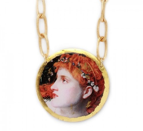 Medallion with a reproduction of the painting by Anthony Frederick Sandys (1829 – 1904).