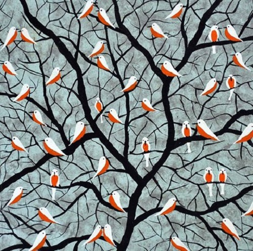Over the branches, 2015. Acrylic painting by Sumit Mehndiratta