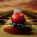 Apple in a hand. Photo art by Belgian photographer Ben Goossens
