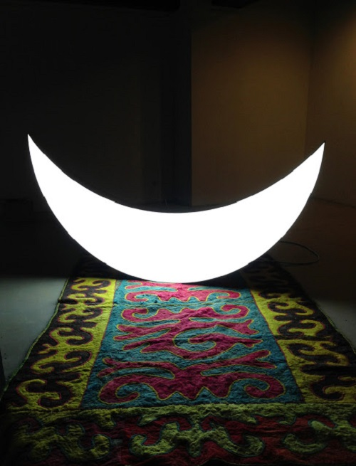 Private Moon installation by Leonid Tishkov. Almaty Private Gallery, Kazakhstan