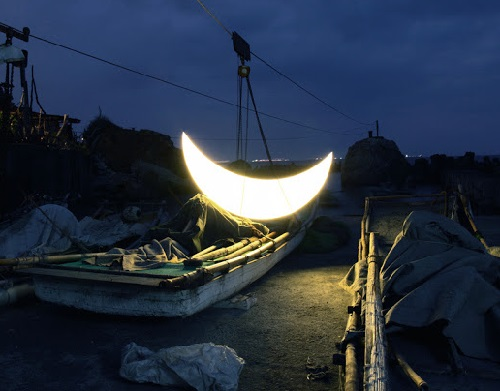 Seeing the Private Moon off. Sizihwan. Private Moon installation by Leonid Tishkov