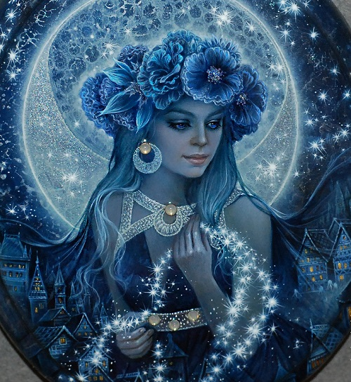 Lacquer miniature by Svetlana Belovodova. Selena - Mistress of the night sky, the Goddess of the Moon