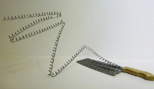 Silhouette Artwork Cut from Knives by Chinese artist Li Hongbo