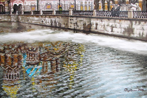Spring on the Griboyedov Canal, Oil on canvas, 2009