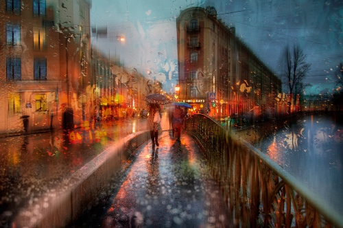 Autumn rain in St. Petersburg