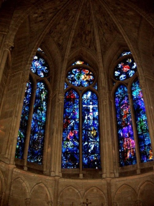 Stained glass windows by Marc Chagall in Reims Cathedral