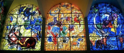 Stained glass windows created by Chagall