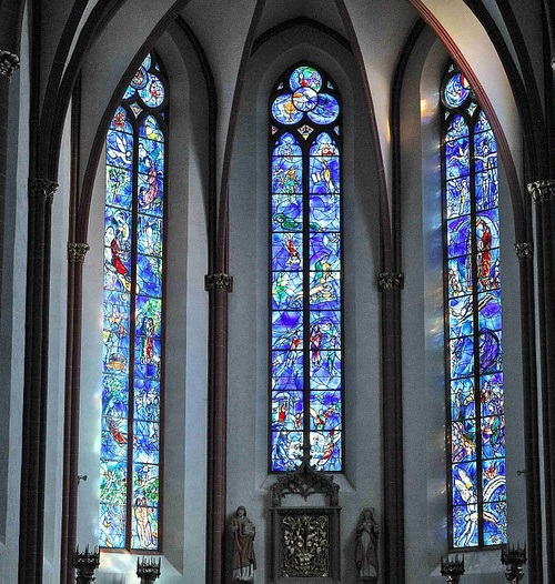Marc Chagall Stained Glass windows. Stained-glass windows of the church choir of St. Stephen, Germany