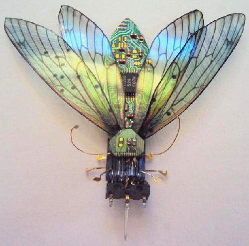 Techno-Entomology art - tiny insects from waste made by British artist Julie Alice Chappell