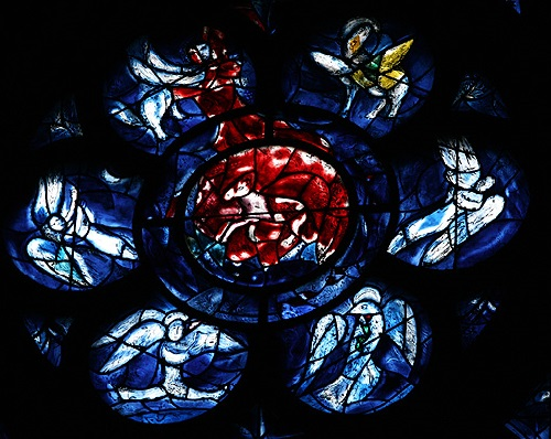 The main stained glass window of the Cathedral of Reims. France