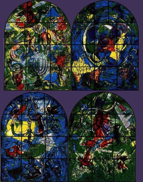 Marc Chagall Stained Glass windows. The set of stained glass in a modest church Pocantico Hills, lost in a peaceful province aside from the big cities. USA