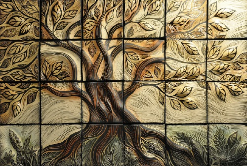 Tree of life ceramic tiles. Natalie Blake Ceramic tiles