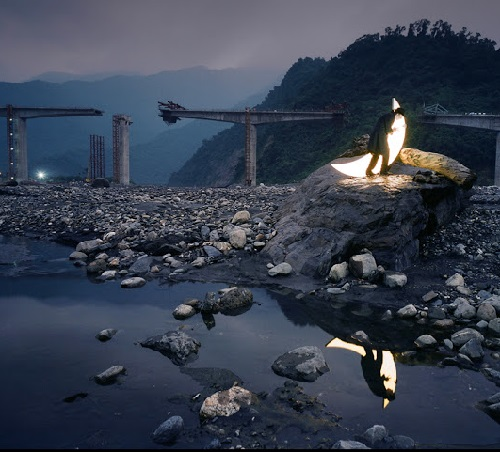 Under the destroyed bridge. Photographer Po-I Chen. Taiwan's Trip of the Private Moon 2012. Kaohsiung Museum of Fine Arts