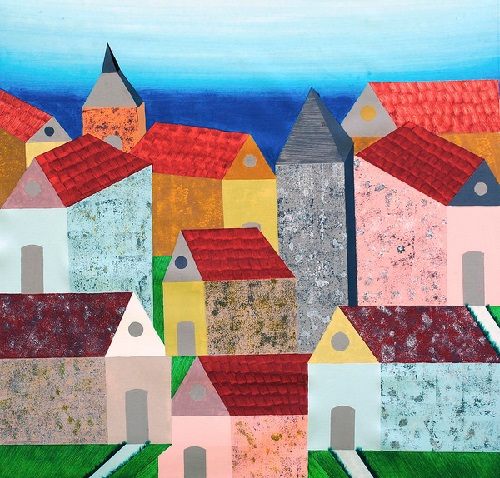Village in Tuscany. Painting by Indian self-taugh artist Sumit Mehndiratta