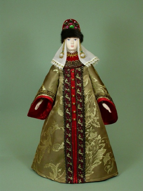 Doll in Russian costume. Biscuit porcelain, textiles, acrylic paint. Artist SY Krishtan