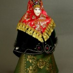 Handmade Doll in Russian costume. Biscuit porcelain, textiles, acrylic paint. Artist SY Krishtan
