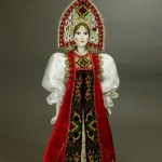 Folk doll in Russian costume. Biscuit porcelain, textiles, acrylic paint. Author IV Bannikova