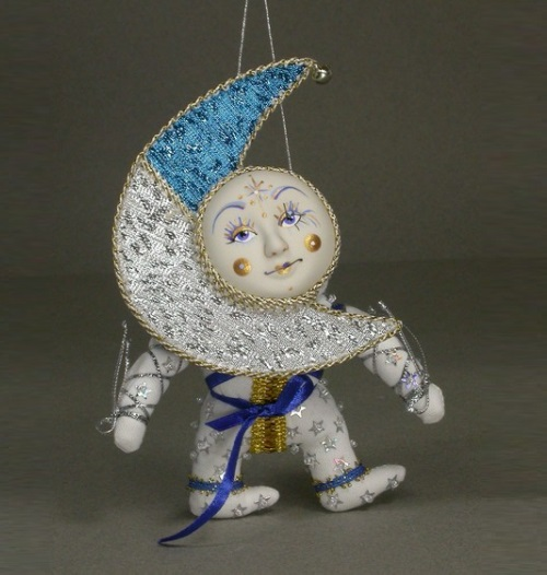 Doll wearing a mask, 'Moon'. Biscuit porcelain, textiles, acrylic paint. Artist AI Dubrovina. Doll Workshop at Lanskoy