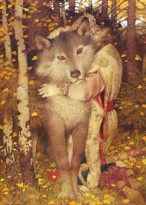 "Illustration for Russian fairy-tale ""Grey wolf and Ivan Tsarevich"". Artist Gennady Spirin"