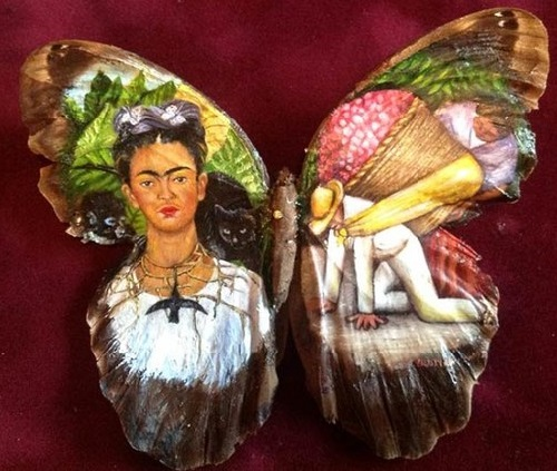 Frida Kahlo. Painting on butterfly wings. Artist Cristiam Ramos