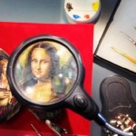 The artist uses special tools for creating his masterpieces, like this magnifying glass. Miniature Painting by Cristiam Ramos