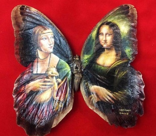 Inspired by Leonardo Da Vinci. Madonna Miniature painting on butterfly wings. Mexican artist Cristiam Ramos