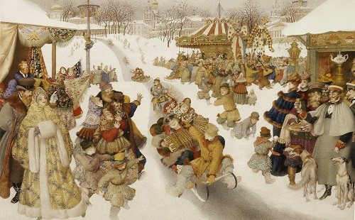 Sledging. Russian winter. Book Illustrator Gennady Spirin