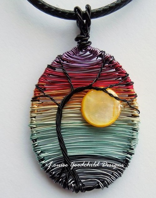 Sunset. Louise Goodchild miniature woven wire Jewellery