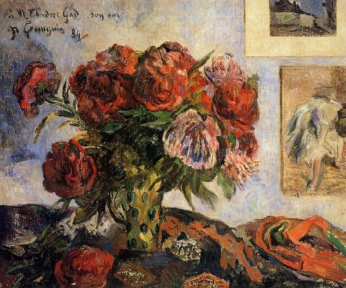 Paul Gauguin flowers. Vase with Peonies, 1884