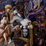 """Gorgeous costumes and details of illustration """"Venice"""" right part"""